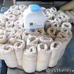 1st layer with Seventh Generation Newborn sized diapers