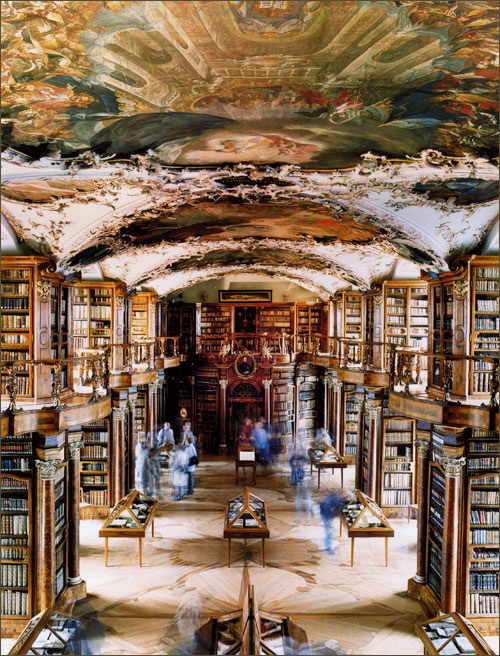 The Library of the Abbey of Saint-Gallen. Photo by Candida Höfer.