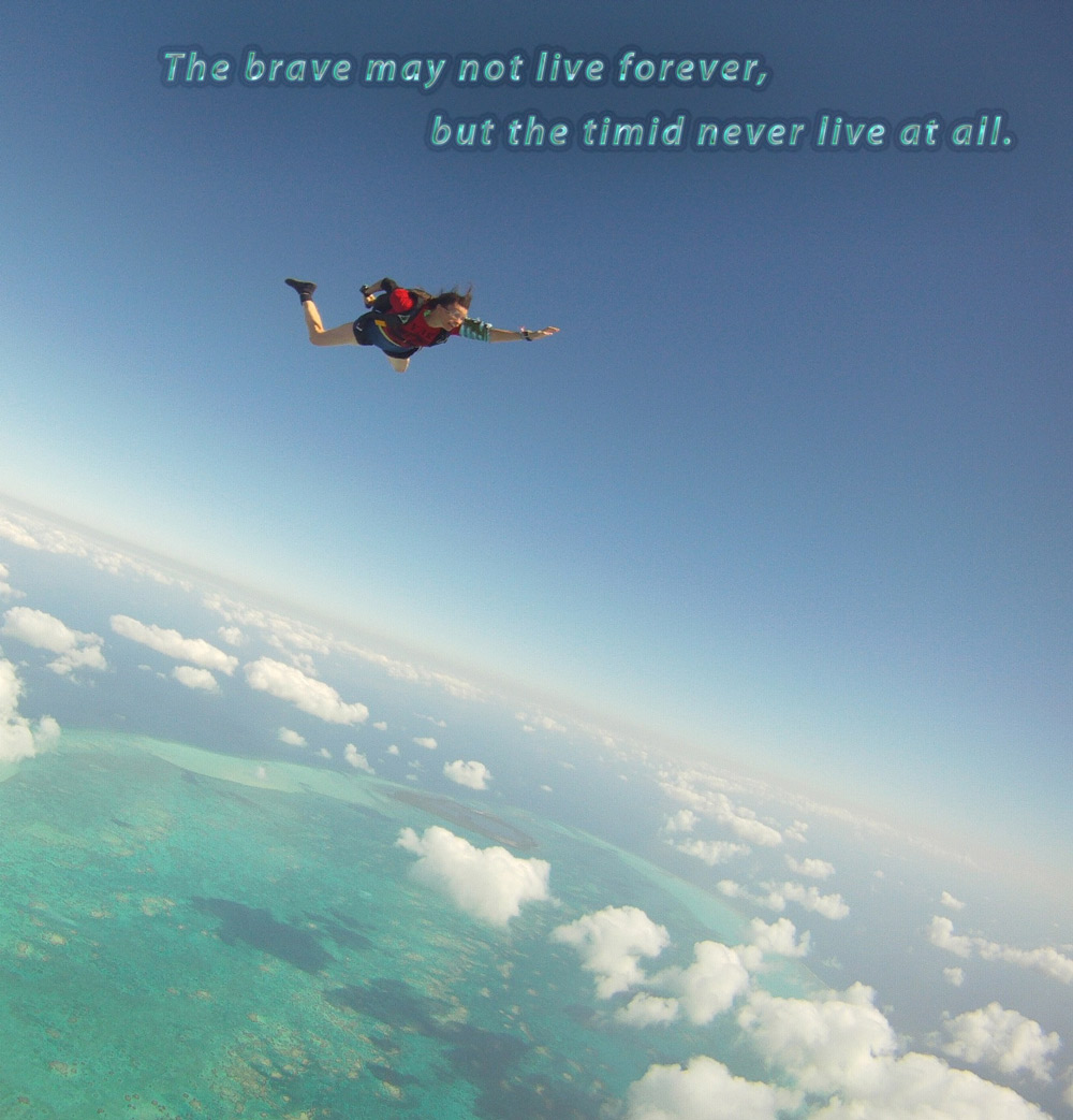 The brave may not live forever, but the timid never live at all.