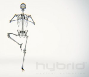 A skeleton in Tree Pose